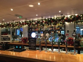 Decorated garland above the bar in Bonds London