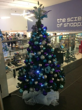Decorated small tree in The Science Museum shop