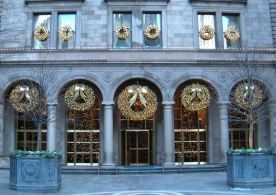 Lit wreaths and coordinating trees at The Palace Hotel